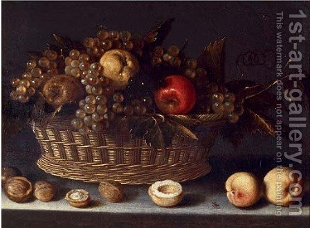 A basket of grapes and apples with peaches and walnuts, on a ledge by (after) Louise Moillon - Reproduction Oil Painting