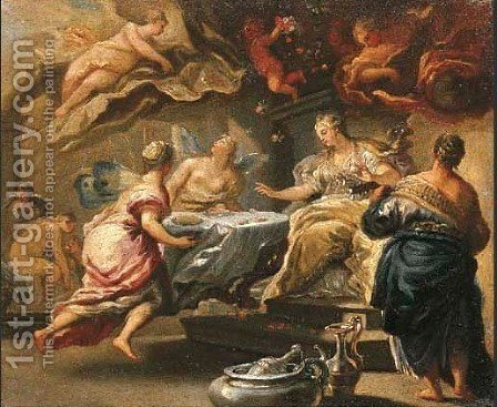 Psyche feasting in the palace of Cupid by (after) Luca Giordano - Reproduction Oil Painting
