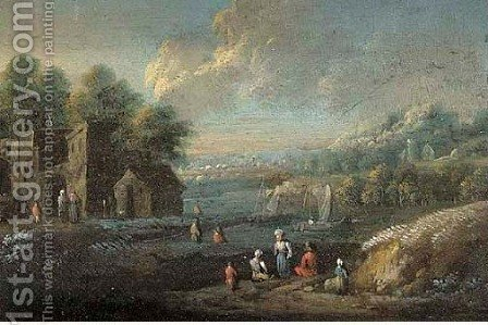 River landscape with peasants by (after) Marc Baets - Reproduction Oil Painting