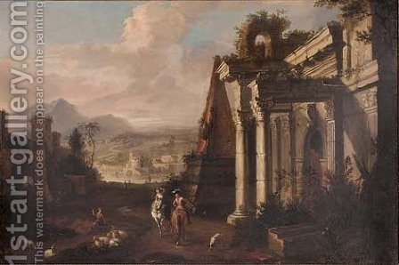 A classical landscape with figures on horseback and a shepherd with his flock by ruins, a river, town and mountains beyond by (after) Marco Ricci - Reproduction Oil Painting