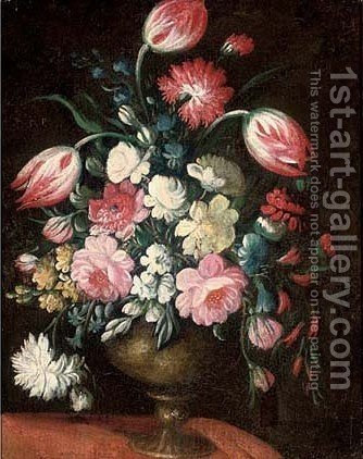 Tulips, carnations, morning glory and other flowers in a vase on a table by (after) Margherita Caffi - Reproduction Oil Painting