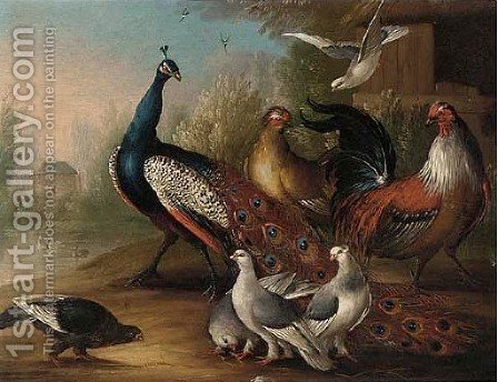 Peacocks, a cockerel and doves by a pond by (after) Marmaduke Craddock - Reproduction Oil Painting