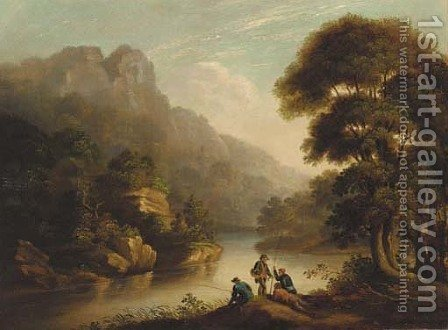 Anglers in a gorge by (after) Patrick Nasmyth - Reproduction Oil Painting