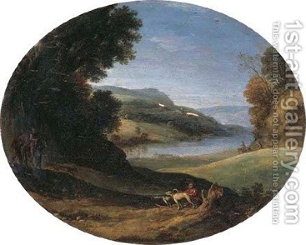 An extensive Italianate landscape with horsemen and travellers by (after) Paul Bril - Reproduction Oil Painting