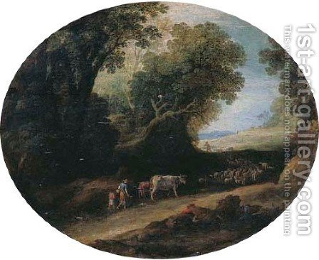 An Italianate wooded landscape with herdsmen and their cattle on a path by (after) Paul Bril - Reproduction Oil Painting