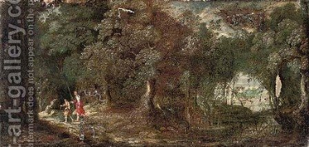 Tobias and the Angel in a wooded landscape by (after) Paul Brill - Reproduction Oil Painting