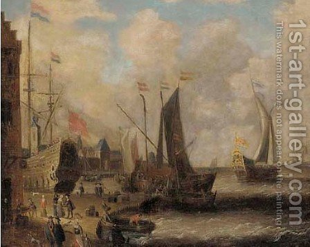 A coastal landscape with figures on a wharf by an inn, shipping beyond by (after) Peter Van Den Velde - Reproduction Oil Painting