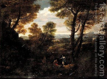 A Classical Landscape With Figures In The Foreground by (after) Pier Francesco Mola - Reproduction Oil Painting