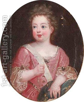 Portrait of a young lady, in a pink dress 2 by (after) Pierre Gobert - Reproduction Oil Painting