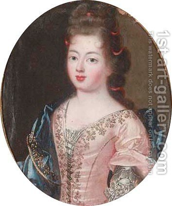 Portrait of a young lady, in a pink dress by (after) Pierre Gobert - Reproduction Oil Painting