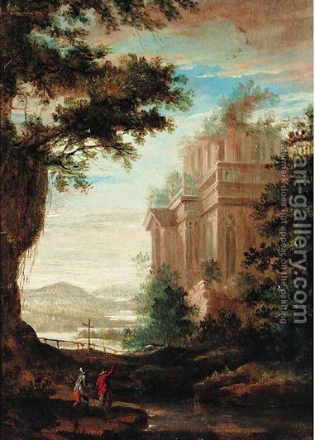 An extensive landscape with figures before a temple by (after) Pierre-Antoine Patel - Reproduction Oil Painting