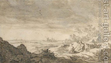 A Hilly Landscape With Travellers Resting by (after) Pieter De Molijn - Reproduction Oil Painting