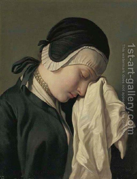 The young women crying by (after) Pietro Antonio Rotari - Reproduction Oil Painting
