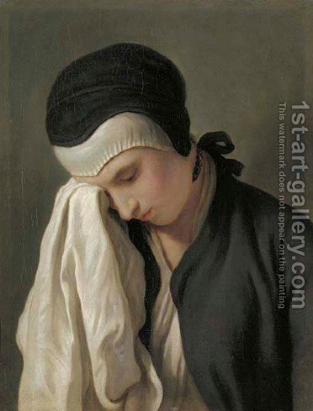 The young women crying 2 by (after) Pietro Antonio Rotari - Reproduction Oil Painting