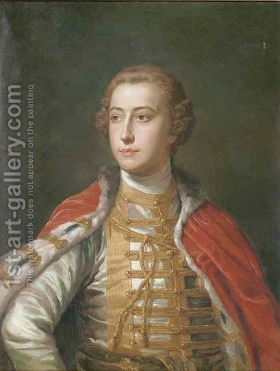 Portrait of an officer by (after) Pompeo Gerolamo Batoni - Reproduction Oil Painting