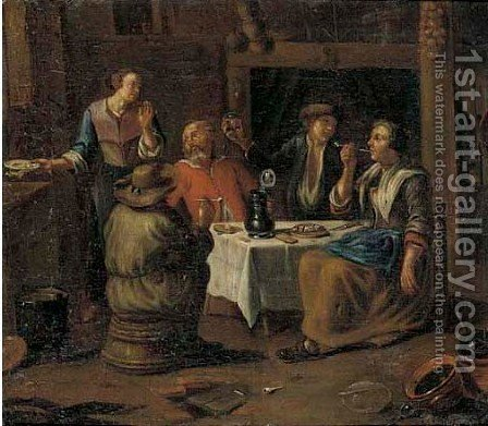 Peasants smoking and drinking in a tavern by (after) Richard Brakenburg - Reproduction Oil Painting