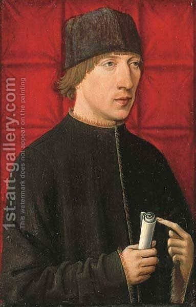 Portrait of a man, half-length, in a black coat with gold trim and a cap, before a red cloth by (after) Robert Campin - Reproduction Oil Painting
