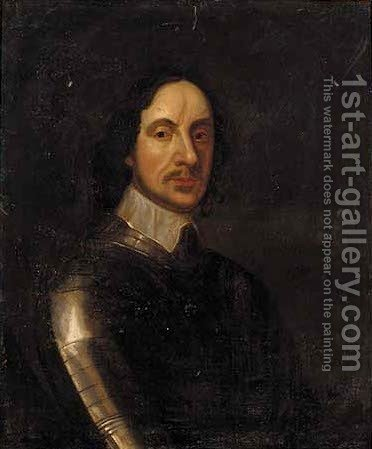 Portrait of Oliver Cromwell (1599-1658), bust-length, in armour and a lace collar, feigned oval by (after) Robert Walker - Reproduction Oil Painting