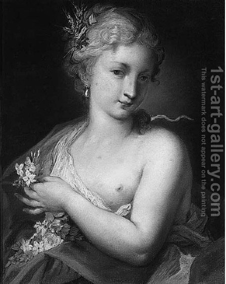 A Woman holding Flowers Allegory of Summer by (after) Rosalba Carriera - Reproduction Oil Painting