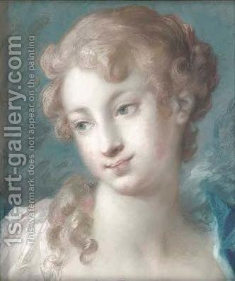 Head of a girl looking down to the left by (after) Rosalba Carriera - Reproduction Oil Painting