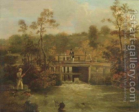 Fishing beneath a weir by (after) Samuel John Egbert Jones - Reproduction Oil Painting