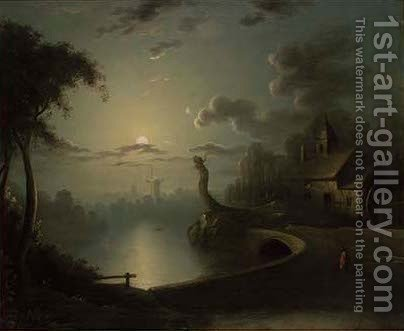 Figures by a moonlit river by (after) Sebastian Pether - Reproduction Oil Painting