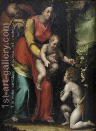 The Holy Family With The Infant Saint John The Baptist, The Flight Into Egypt Beyond by (after) Sebastiano Del Piombo (Luciani) - Reproduction Oil Painting