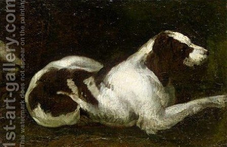 Study Of Resting Hound 2 by (after) Sinibaldo Scorza - Reproduction Oil Painting