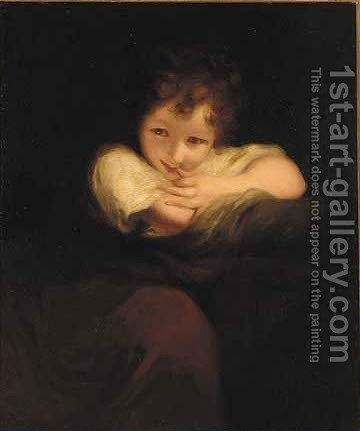 A young girl leaning on a plinth by (after) Sir Joshua Reynolds - Reproduction Oil Painting