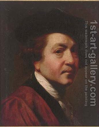 Self-portrait, head-and-shoulders, in a red coat and black hat by (after) Sir Joshua Reynolds - Reproduction Oil Painting