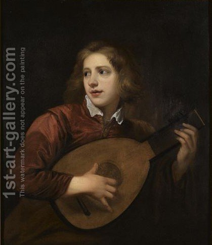 A Boy Playing The Lute by (after) Sir Peter Lely - Reproduction Oil Painting