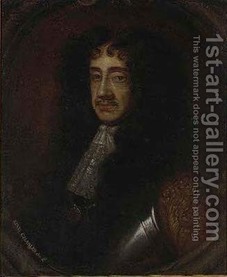 Portrait of King Charles II (1630-1685)sculpted cartouche by (after) Sir Peter Lely - Reproduction Oil Painting