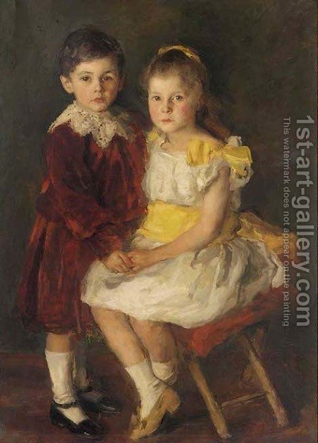 Portrait of Hildegard and Eberhard Baelz by (after) Sir Samuel Luke Fildes - Reproduction Oil Painting
