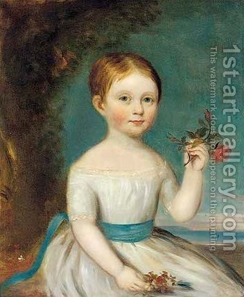 Portrait of a young girl, seated half-length, in a white dress, a rose in her left hand by (after) Sir William Beechey - Reproduction Oil Painting