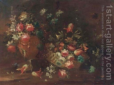 Parrot tulips, roses, narcissi by (after) The Pseudo-Guardi - Reproduction Oil Painting
