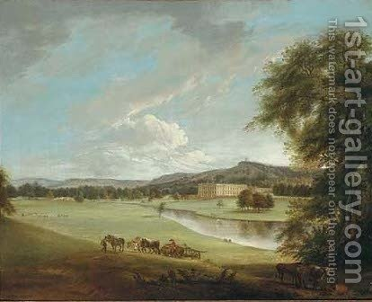 View of Chatsworth House from the South-West, with labourers and livestock in the foreground by (after) Theodore De Bruyn - Reproduction Oil Painting
