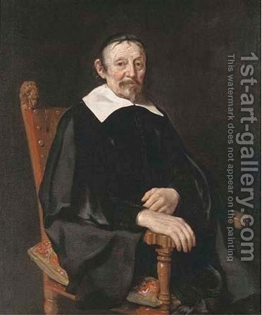 Portrait of a gentleman, seated three-quarter-length by (after) Thomas De Keyser - Reproduction Oil Painting