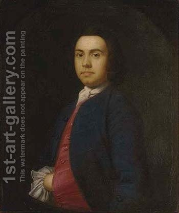 Portrait of a gentleman, half-length, in a dark blue coat and yellow waistcoat, feigned oval by (after) Thomas Hudson - Reproduction Oil Painting