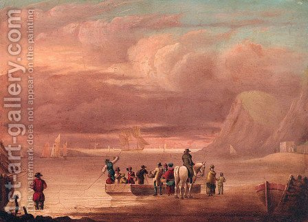An Elegant Party embarking a Ferry by (after) Thomas Luny - Reproduction Oil Painting
