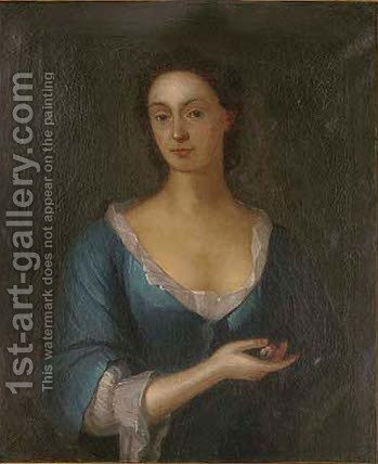 Portrait of a lady, bust-length, in a blue dress, a flower in her right hand by (after) William Aikman - Reproduction Oil Painting