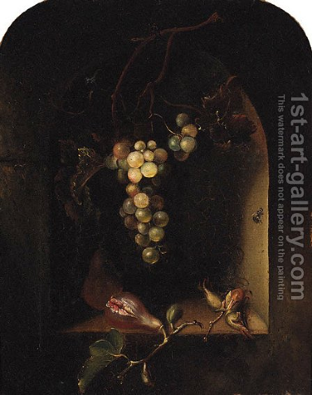 Grapes, Figs And Cob Nuts In A Niche by (after) William Huggins - Reproduction Oil Painting