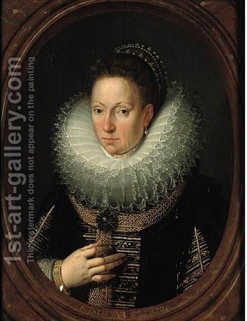 Portrait of a lady in a feigned oval by (after)Frans, The Younger Pourbus - Reproduction Oil Painting