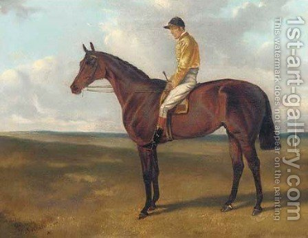 Bendigo, a brown racehorse with Tom Cannon up, on Newmarket Heath by Alfred Jun Wheeler - Reproduction Oil Painting