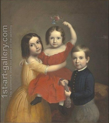 A Portrait Of Three Children by American School - Reproduction Oil Painting