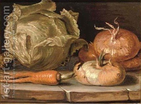 Onions, a cabbage and a carrot on a stone ledge by Giuseppe Artioli Da Cento - Reproduction Oil Painting