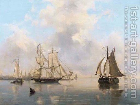 A calm shipping by a harbour entrance by Govert Van Emmerik - Reproduction Oil Painting