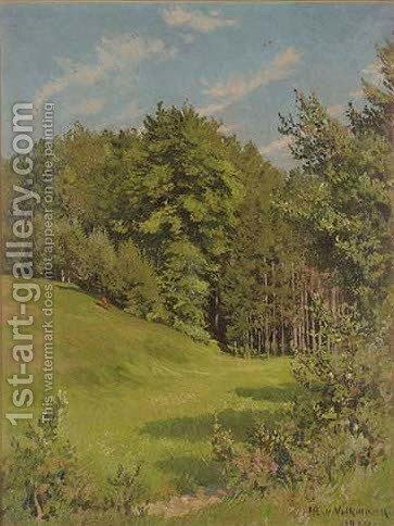 At the edge of the wood by Hans Richard Von Volkmann - Reproduction Oil Painting