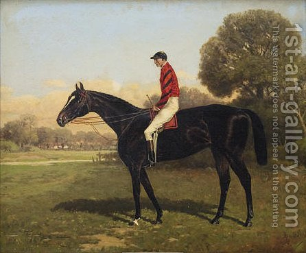 Iroquois, with Fred Archer up, winner of the Epsom Derby, St. Leger and Prince of Wales Stakes, 1881 by Henry Stull Hamilton Ontario - Reproduction Oil Painting