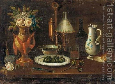 Flowers in a vase, artichokes in a porcelain plate, a knife, a gas-lamp, a jug by Italian School - Reproduction Oil Painting