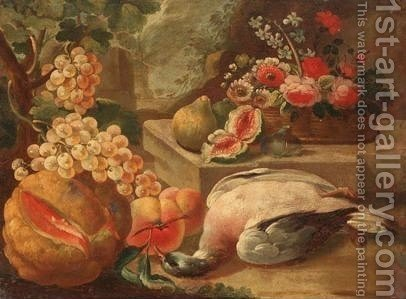 Still Life With A Basket Of Flowers, A Melon, Grapes, Figs, Peaches, And A Pigeon In A Landscape by Italian School - Reproduction Oil Painting